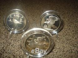 35 Vintage Gilroy Roberts Birds sterling Silver Medals Franklin Mint In Cases +