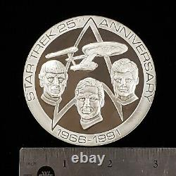 5.75 oz. 925 Sterling Silver Round Star Trek 25th Anniv 1966-1991 F2185