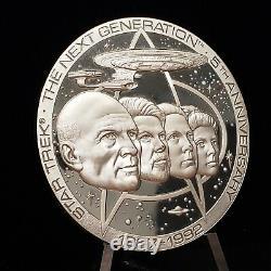 5.76 oz. 925 Sterling Silver Round Star Trek Next Generation 5th Anniv F2184