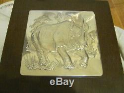 5 Sterling Silver Wall Sculptures The Lords of the Serengeti Franklin Mint COA