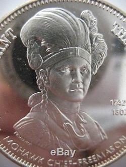7/8-oz Joseph Brant Freemason Brotherhood Masonic Art Coin Silver. 925 +gold