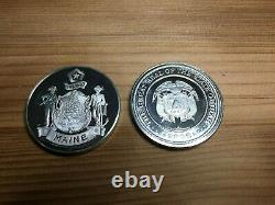 7 Sterling Silver. 925 Proof Coins, Medals Lot, Art Round 1 Oz Ea, 7 Oz Total