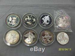 8 Vintage Franklin Mint Roberts Birds Sterling Silver Medal Coins