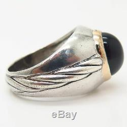 925 Sterling Silver / 14K Vintage Franklin Mint Black Onyx Men's Ring Size 11
