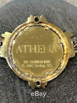 ATHENA Franklin Mint 1986 Coin Necklace 22K Gold Plated Sterling Silver Sapphire
