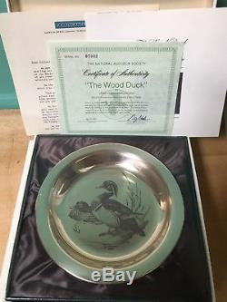 Audubon Society Franklin Mint Sterling Silver Collector Plates Set 4 in boxes