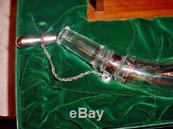 Bicentennial Baccarat Crystal Sterling Silver Powderhorn Franklin Mint +Orig BOX