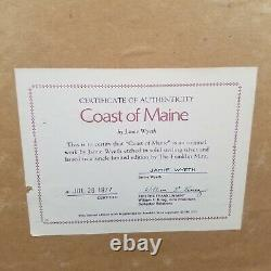 COAST OF MAINE ETCHING ON STERLING SILVER BY JAMIE WYETH 1977 (Franklin Mint)