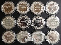 Complete Set of 12 ozt Sterling Silver Aztec Franklin Mint Museo Nacional Mexico