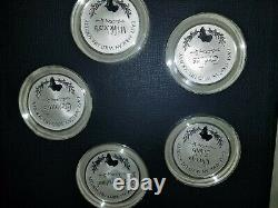 East African Wild Life Society Franklin Mint Sterling Silver 1971-1972 Set 40+OZ