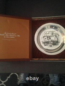 Etched sterling silver plates by Stevan Donahas, Set of 5. Thanksgiving series