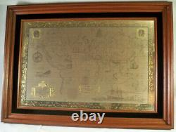 Extremely Rare! Franklin Mint Sterling Silver 925/Gold World Map Old Art Piece