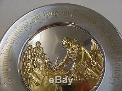 FRANKLIN MINT STERLING SILVER 22KT GOLD BICENTENNIAL PLATE 7.9 Oz JOHN HANCOCK