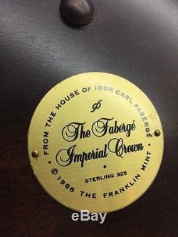 Fabergé Imperial Crown Franklin Mint Sterling Silver Garnet 14k Diamond PearlCOA