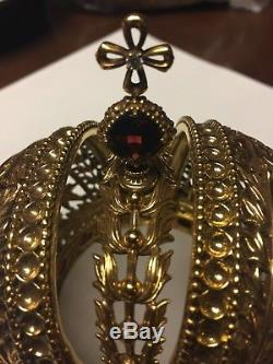 Faberge Imperial Crown Franklin Mint Sterling Silver Garnet and 14k gold