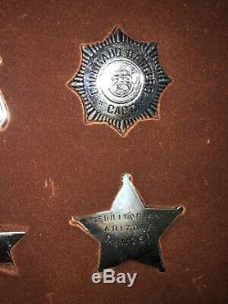 Framed Sterling Silver 925 Franklin Mint Western Lawmen Badges Collection of 12
