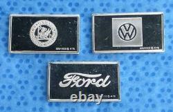 Franklin Mint 100Pc Sterling Silver Mini Ingot Car Set, VW Lotis, Jaguar Ferrari