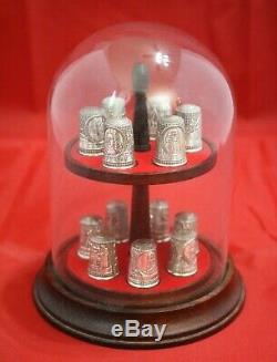 Franklin Mint 13 Colonies Colonial America Thimble Set Sterling Silver Dome Case
