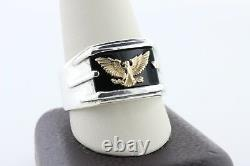Franklin Mint 14K Yellow Gold Sterling Silver 925 Eagle Onyx Stone Ring Sz 12.5