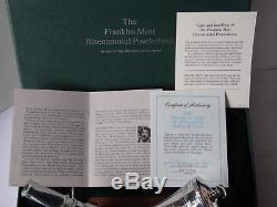 Franklin Mint 1776-1976 POWDERHORN Gun War Sterling Silver + Baccarat Crystal