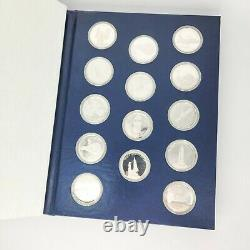 Franklin Mint 18.2 oz Silver AMERICA IN SPACE STERLING SILVER SET 24 Coins. 925