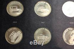 Franklin Mint 1968 Sterling Silver Antique Car 25 Coin Set Series 1 1st Ed Proof