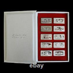 Franklin Mint 1970 1979 Set of Christmas 2 oz. 925 Silver Ingots