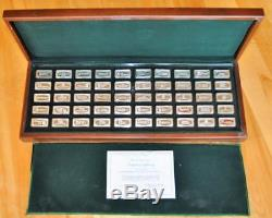 Franklin Mint 1971 Bank Marked 50 Sterling Silver Ingot Collection in Case COA