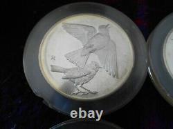 Franklin Mint 1971 Roberts Birds. 925 sterling silver coins set of 8