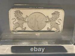 Franklin Mint 1972 Engraved 5000 Grains Solid Sterling Silver Ingot In Lucite