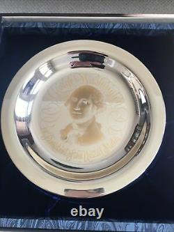Franklin Mint 1972 George Washington Sterling Silver Plate Inlaid With 24K Gold