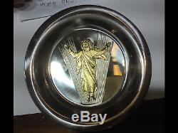 Franklin Mint 1973 Easter Plate Resurrection Frudakis sterling silver and gold