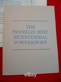 Franklin Mint 1976 Bicentennial Powder Horn Baccarat Crystal & Sterling Silver