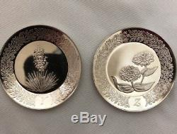 Franklin Mint 1979 Sterling Silver 925, 26 Mini Floral Alphabet Plate Collection