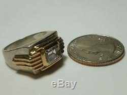 Franklin Mint 1987 Sterling Silver 14k Gold Cz MID Century Modern Ring Band