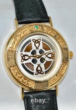 Franklin Mint 1990s 24K Sterling Celtic Cross Watch Emerald Accent Leather Band