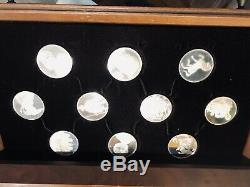 Franklin Mint 50 Leonardo Davinci Sterling Silver Coins and Wood Chest