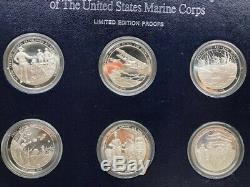 Franklin Mint Bicentennial History Us Marine Corps 24 Sterling Silver Medals