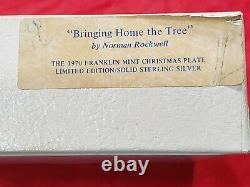 Franklin Mint Christmas Plate by Norman Rockwell 1970 Sterling Silver NIB COA