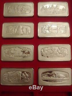 Franklin Mint Christmas Sterling Silver Ingot Set Of 8 8000g Total 1972-1979