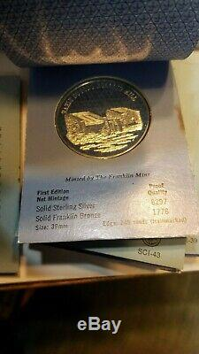 Franklin Mint Commemorative. 925 Sterling Silver Medal Coin Lot of 22 Coins