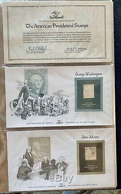 Franklin Mint Complete Set Of 35 American Presidents On Sterling Silver Stamps