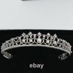 Franklin Mint Diana White Sapphire & Pearl Filigree Sterling Silver Bracelet