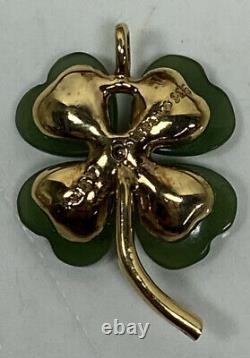Franklin Mint Fm87 Heart Jade Diamond Gold Plated Sterling Silver Clover Pendant