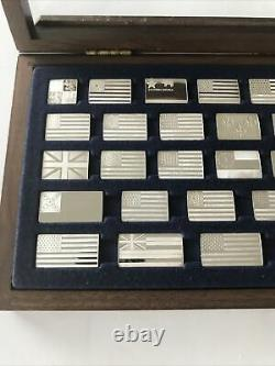 Franklin Mint GREAT FLAGS OF AMERICA Mini-Ingot 42 Piece Sterling Silver set