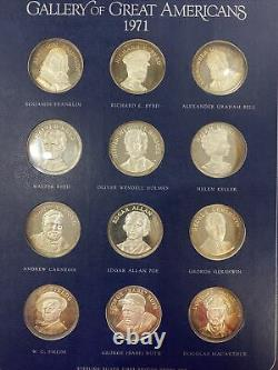 Franklin Mint'Gallery of Great Americans' 1970-71 Sterling Silver Proof Set