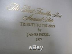 Franklin Mint Gold Sterling Silver Collector Plate Tribute To The Arts 1977