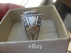 Franklin Mint Harley Davidson Men's Heavy Sterling Silver Ring