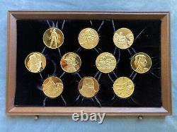 Franklin Mint, Leonardo Da Vinci Medal Collection, Gold Plated Sterling Silver