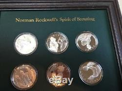 Franklin Mint Ltd Ed. Sterling Silver Norman Rockwell's Spirit of Scouting coins